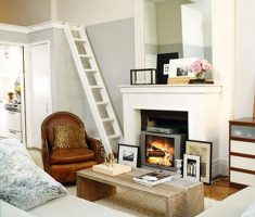 tiny living room with fireplace for small space decoration