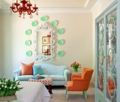 tranquil small space decoration for living area with queen mirror wall decor