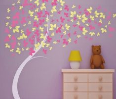 tree and falling leafes wall stickers girls bedrooms