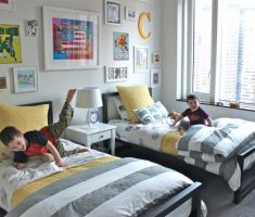twin minimalist shared kids bedroom for boys