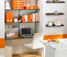 unique orange theme home office for small space decoration