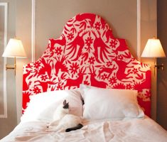 unique red and white upholstered headboard bedroom ideas