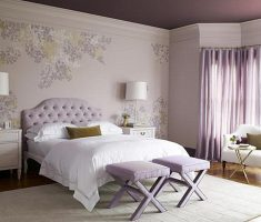 upholstered headboard bedroom ideas violet puple theme colors