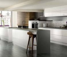 white ultra modern kitchen with shade grey theme colors
