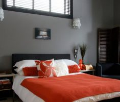 white and orange feng shui style of bedroom interior design