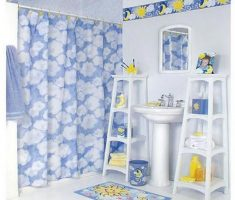 white blue theme and mirror for kids bathroom