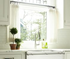 white curtain for small kitchen window treatment ideas