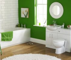 white green and circular mirror for kids bathroom