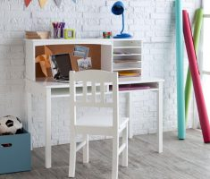 white simple children art tables and desks with drawer and shelve books