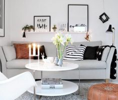white small livng room theme for modern small space decoration