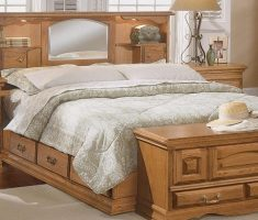 wooden bed with mirrored headboard bedroom set
