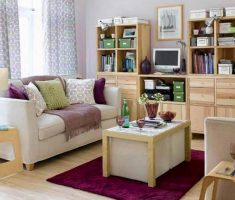 wooden small living room small space decoration
