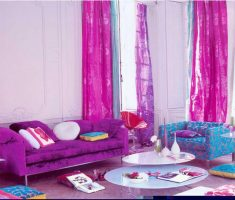 Adorable Pink and Purple Blue Living room with Purple Curtains for Decorating