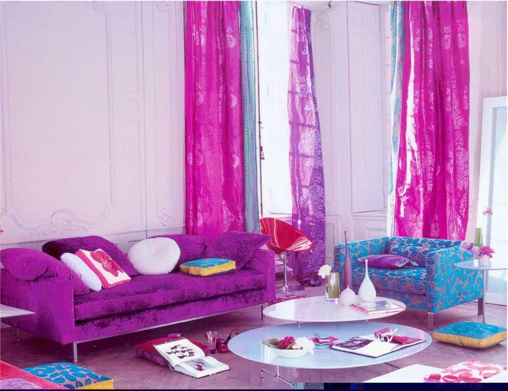 Adorable pink and purple blue living room with purple for Room decor material