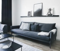 Black Sofa for Black and White Apartment Livng Room