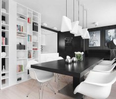 Black and White Apartment Kitchen and Dining Room Modern Design