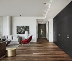 Black and White Apartment Living Room with Brown Hardwood