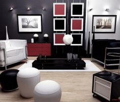 Black and White Apartment Studio Living Room