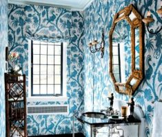 Blue Forest Bathroom Wallpaper Ideas for Small Space
