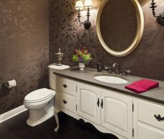Brown and Gold Floral Bathroom Wallpaper Ideas