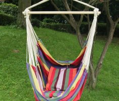 cheerful and colorful outdoor hanging ceiling chair with fabric materials