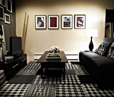 Chick Black and White Apartment Living Room