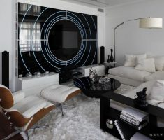Cool Black and White Apartment Living Room with Glass Wall