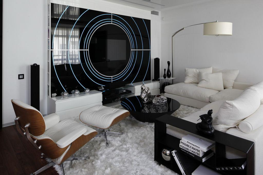 cool black white living room | Cool Black and White Apartment Living Room with Glass Wall ...