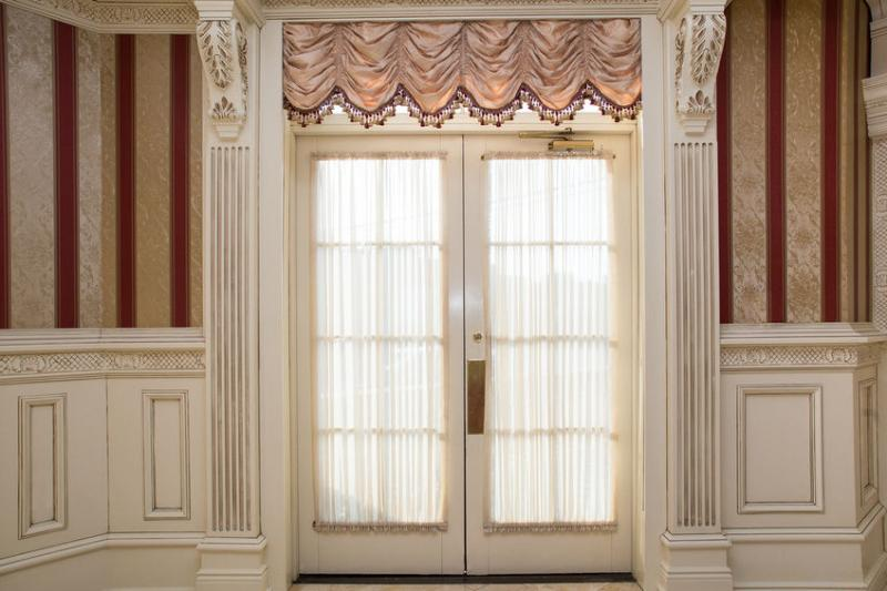 Country French Doors with Screen and Curtain
