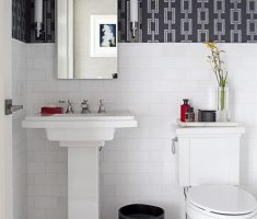 Creative Black and White Small Bathroom with Chains Bathroom Wallpaper Ideas