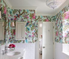 Cute White with Forest Bird Bathroom Wallpaper Ideas for Small Space
