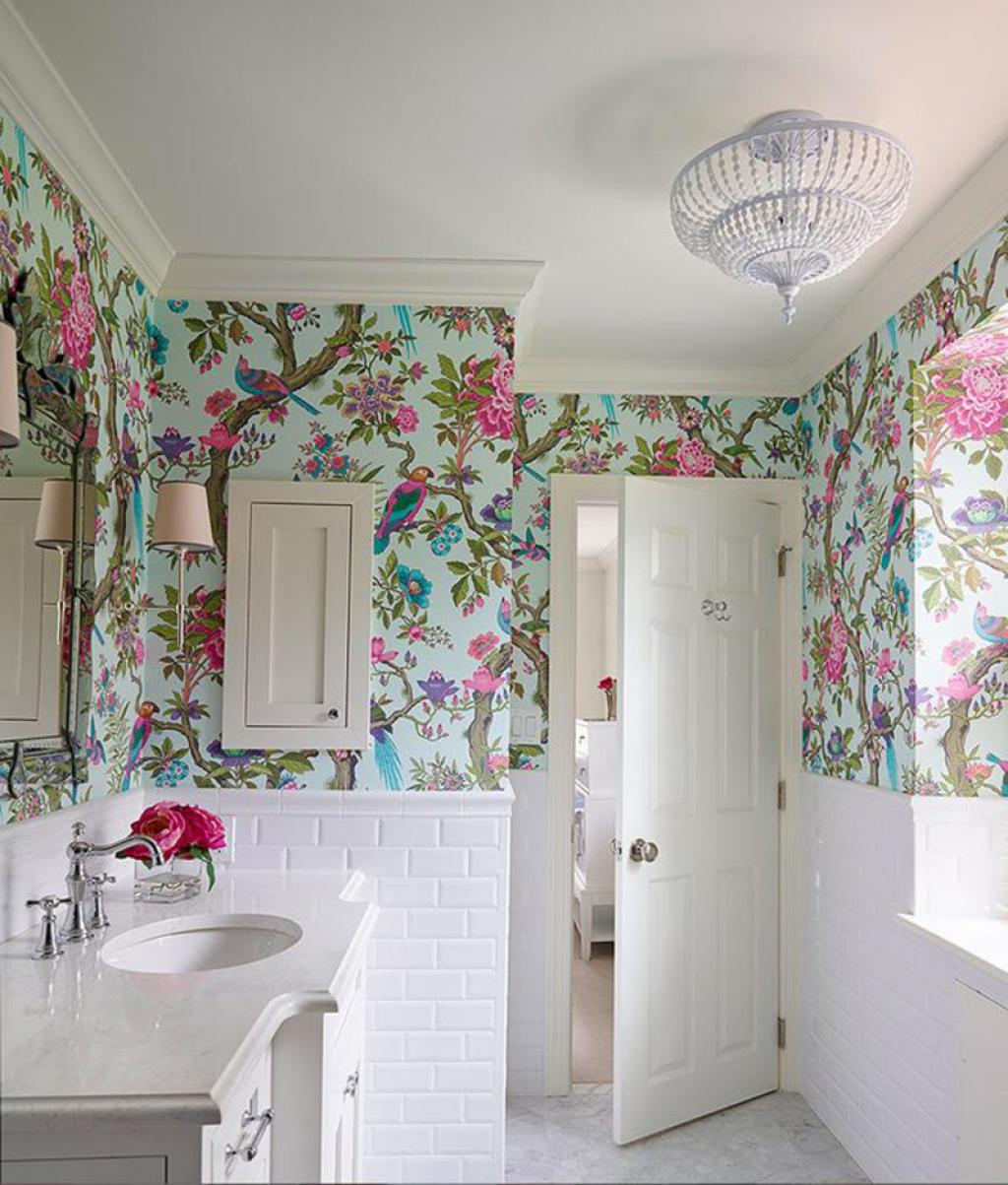 Floral royal bathroom wallpaper ideas on small white for Modern bathroom wallpaper