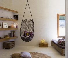 cute and fun egg ceiling chair for neat and minimalist indoor bedroom ideas