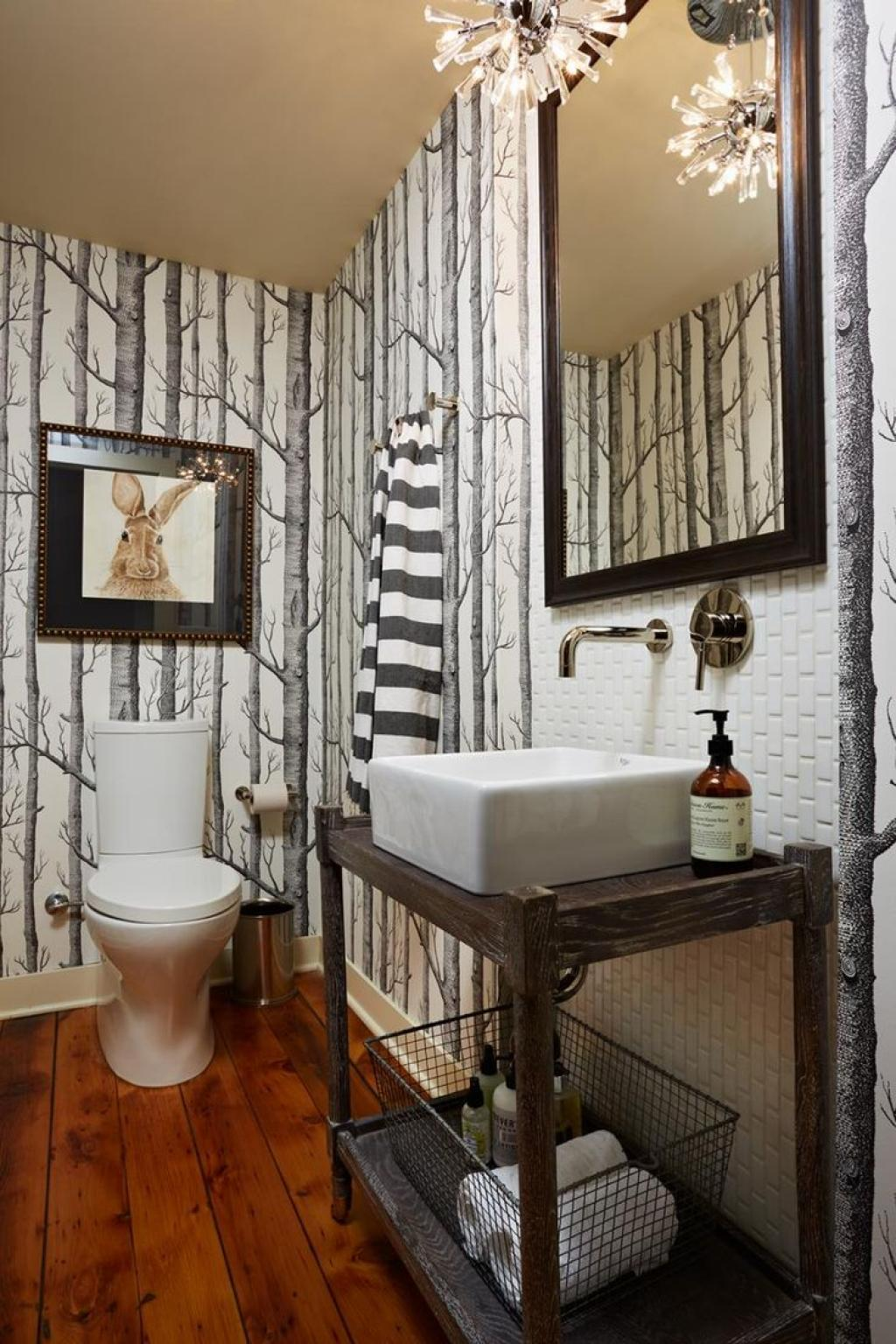 Dry wood forest bathroom wallpaper ideas for small modern for Forest bathroom ideas