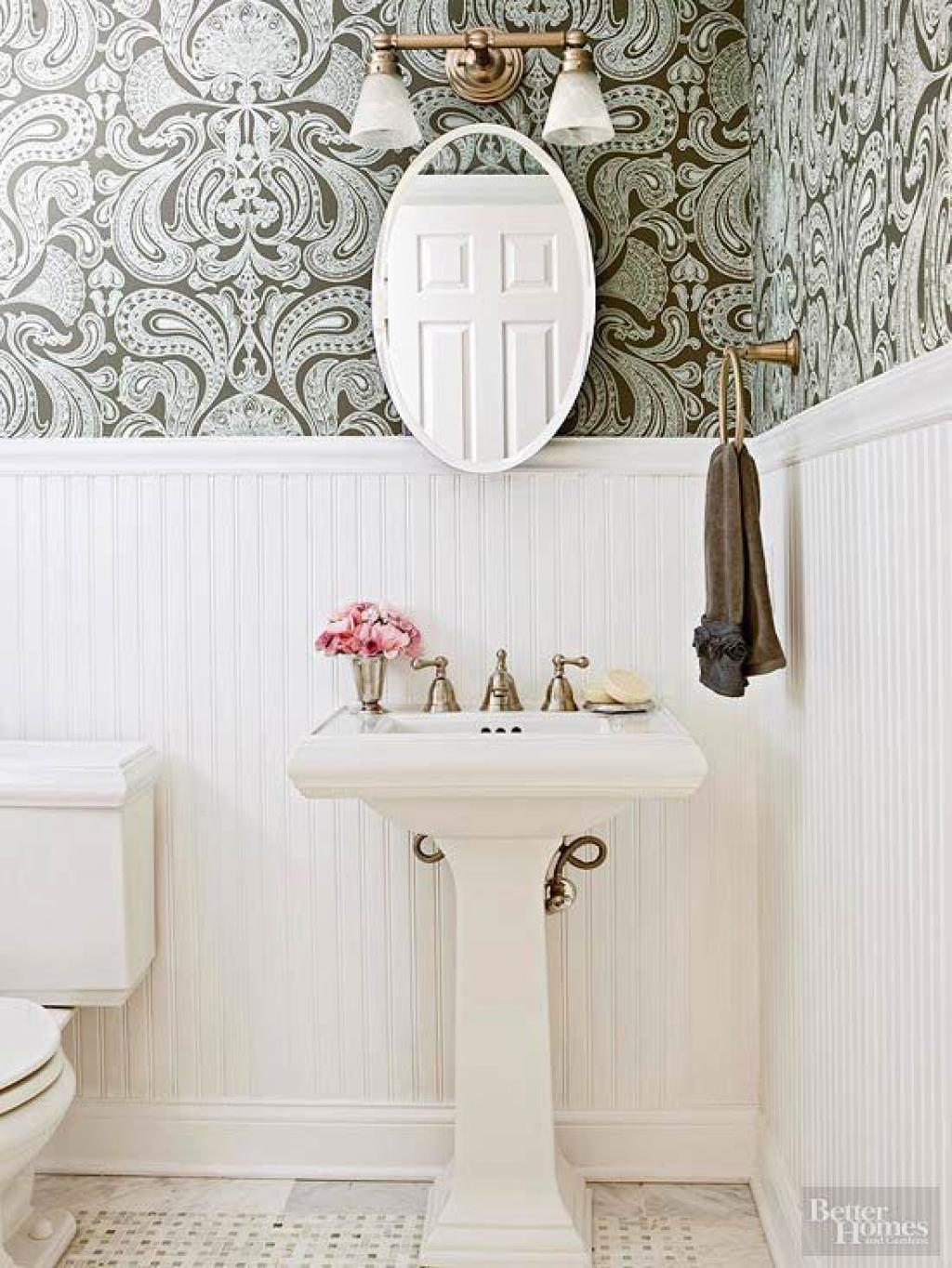 Floral royal bathroom wallpaper ideas on small white for Floral bathroom wallpaper