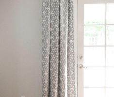 Indoor French Doors with Grey Hexagonal Curtain Pattern