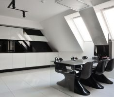 Minimalist Modern Black and White Apartment Dining Room and Kitchen
