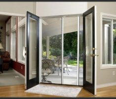 Modern French Doors Exterior with Sliiding Door