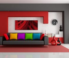 modern red and white for popular colors for interior design ideas