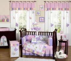 Purple Curtains combine White and pink for Nursery Decorating