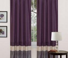 Purple Curtains with grey and beige color scheme for Windows Decorating