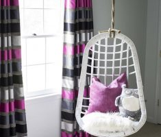Purple with Grey and Black Curtains and white rattan basket Swing Chair for Decorating
