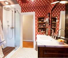 Red and White Bathroom Wallpaper Ideas DC Design
