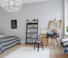 Small Black and White Apartment BEdroom Studio