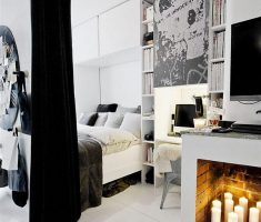 Small Black and White Apartment Bedroom