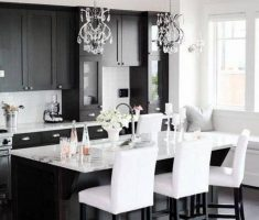 Small Black and White Apartment Kitchen and Dining Area