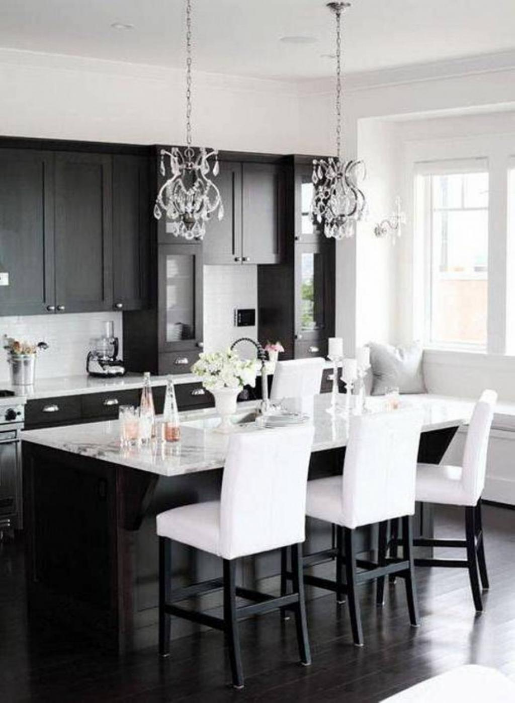 Small black and white apartment kitchen and dining area for Small kitchen with dining area
