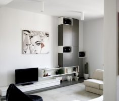 Small Black and White Apartment Living Room