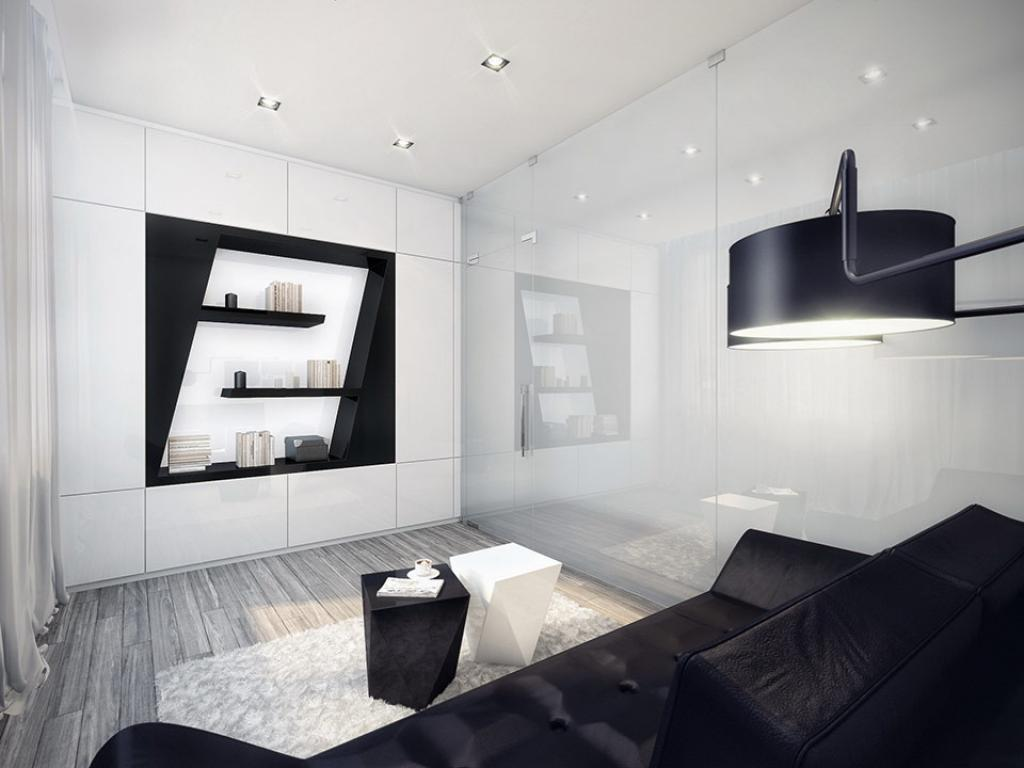 Small black and white apartment living room design for Black room design