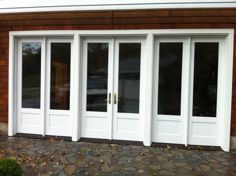 triple white french doors exterior